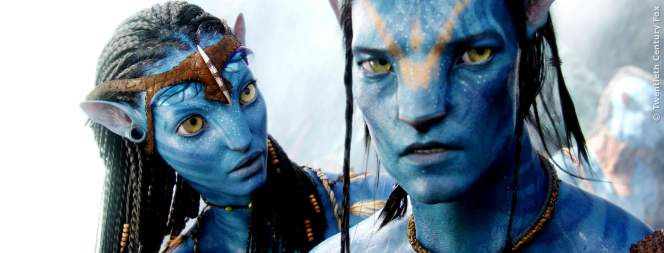 Zoe Saldana und Sam Worthington in Avatar